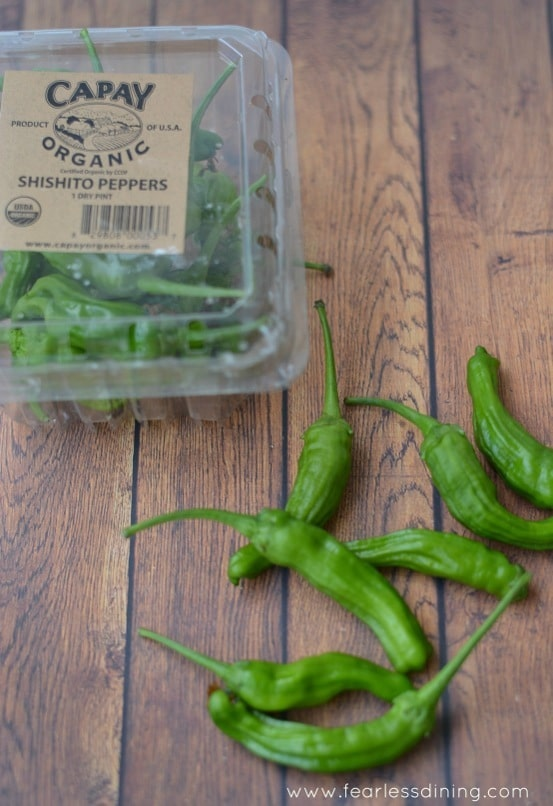 A box of organic shishito peppers.