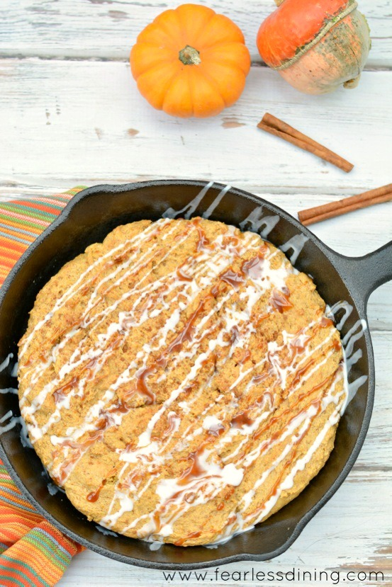 Delicious Quick and Easy Gluten Free Pumpkin Skillet Cookie. Recipe at http://www.fearlessdining.com