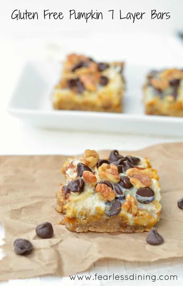 Gluten Free Pumpkin 7 Layer Bars are so good! Perfect for a Halloween party, or a yummy snack. Recipe at http://www.fearlessdining.com