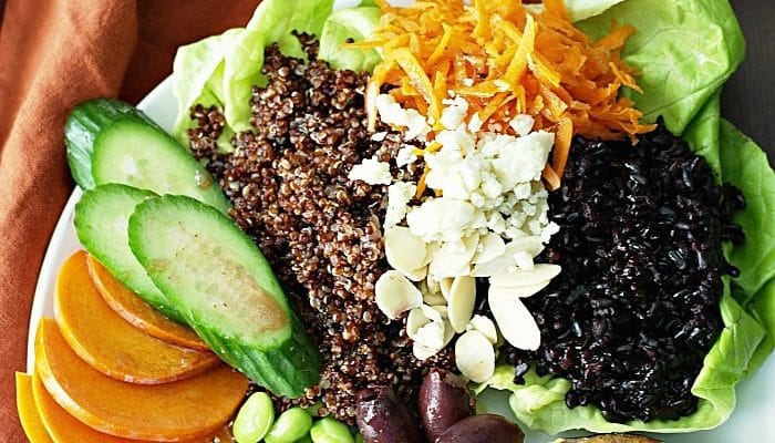 Black Rice and Red Quinoa Vegetable Bowls
