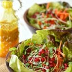 Butter Leaf, Sprout, Carrot and Pomegranate Salad with a Turmeric Vinaigrette