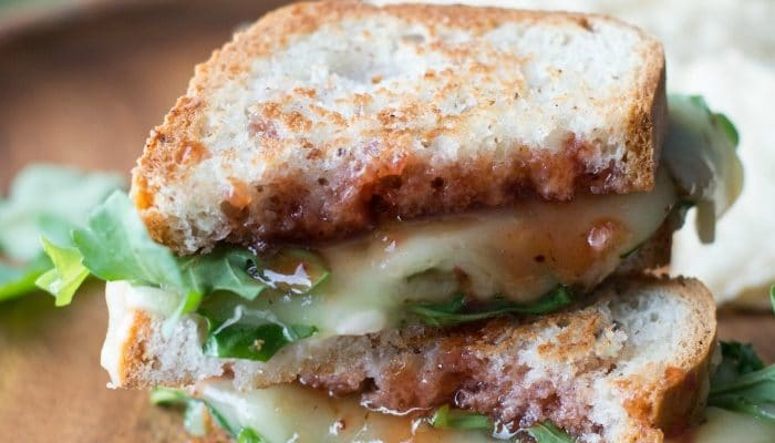 Pepper Jack Grilled Cheese with Strawberry Hot Sauce and Arugula