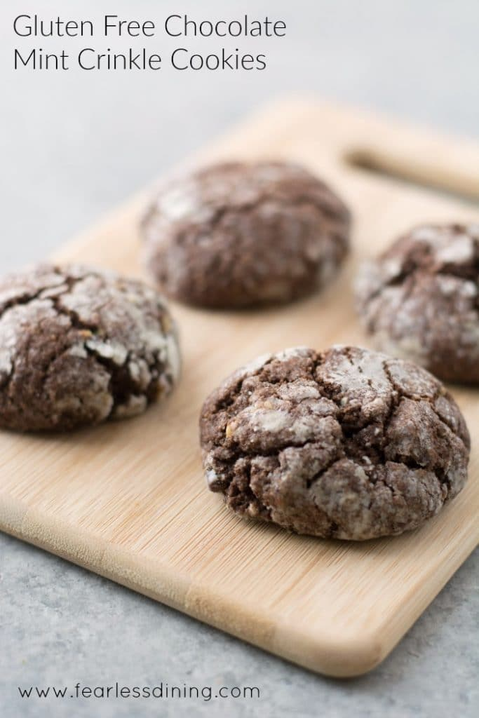 Gluten Free Chocolate Mint Crinkle Cookies on a cutting board