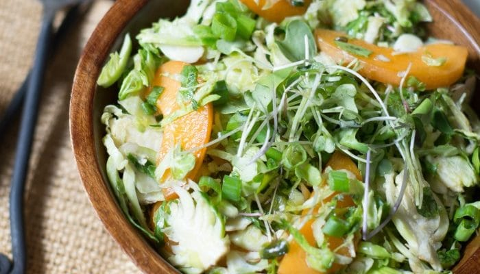 Shaved Brussels Sprout and Apricot Salad