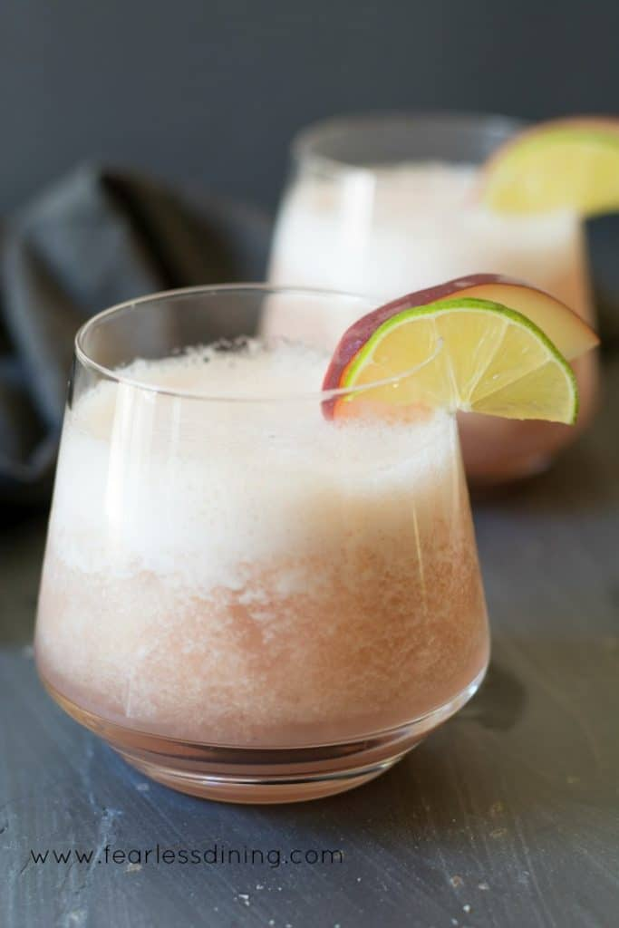 Bourbon Tropical Fresh White Peach Cocktail. Recipe at http://www.fearlessdining.com