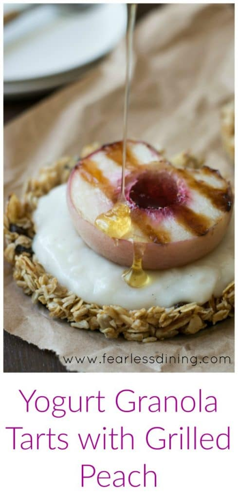 Vegan Vanilla Yogurt Granola Tarts with Grilled Peach and a Honey ...