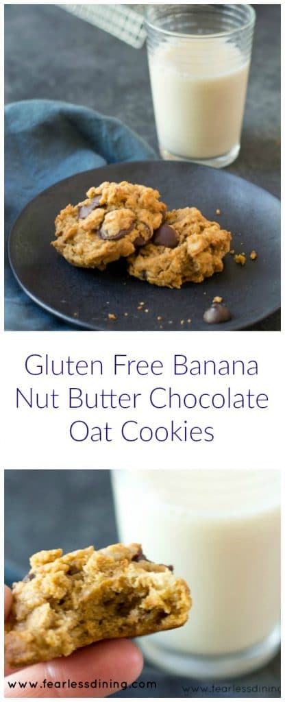 Gluten Free Banana Nut Butter Oat Chocolate Chip Cookies. Recipe at ...