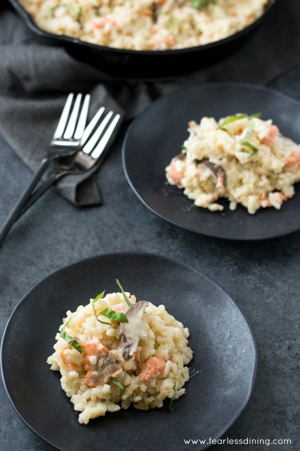 Smoked Salmon Risotto in plates with pan in the background
