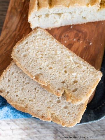 sliced sourdough bread loaf on a cutting board