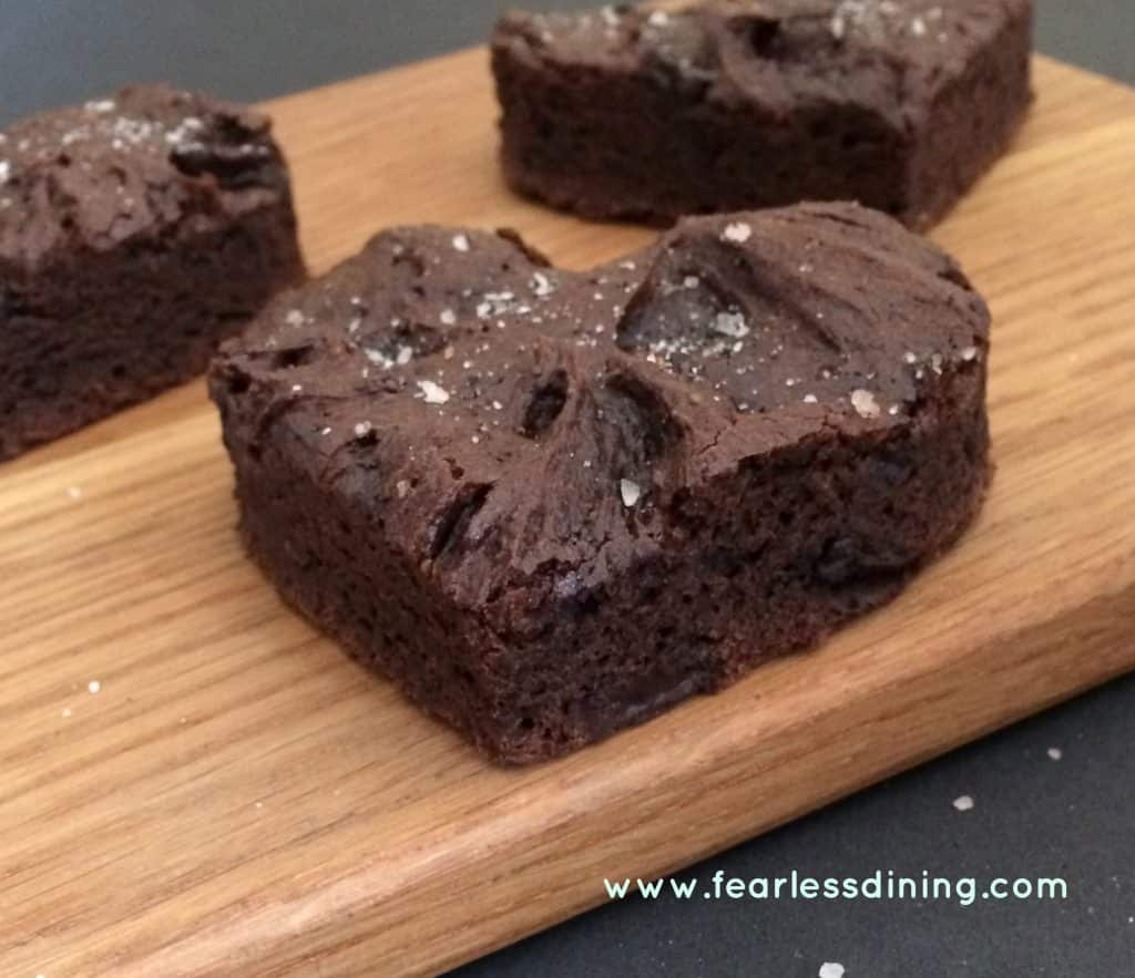 Heart shaped Brownies on a cutting board