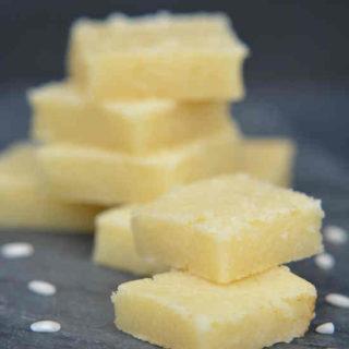 squares of Hawaiian butter mochi (bata mochi)