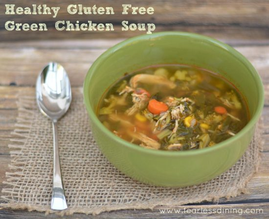 a bowl of healthy green chicken soup.