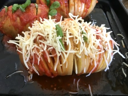 Cheese stuffed hassleback potato