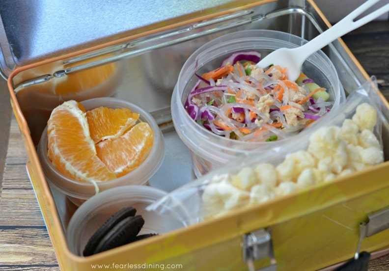 Chilled Tuna Noodle Salad in a school Lunch Box
