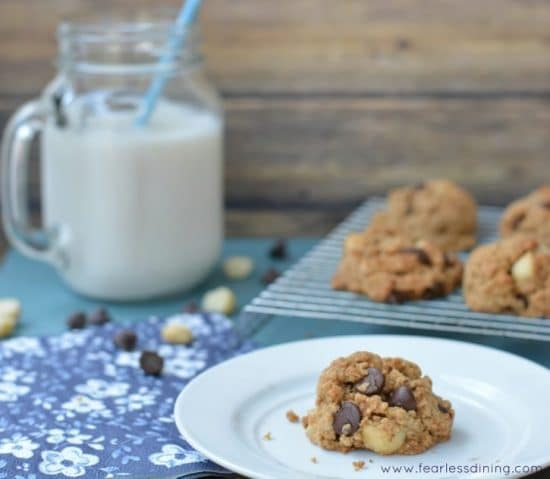 Gluten Free Chocolate Macadamia Nut Cookie on a plate. A glass mug with milk is behind the plate