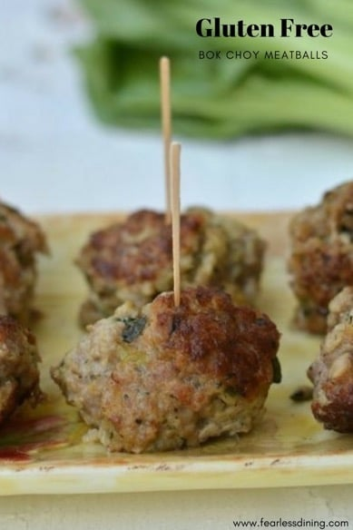 gluten free bok choy meatballs on a serving tray