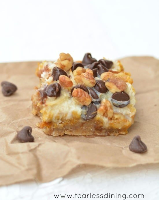 Gluten Free Pumpkin 7 Layer Bars https://www.fearlessdining.com
