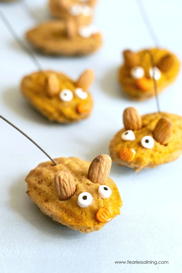 little pumpkin madeleines decorated like mice