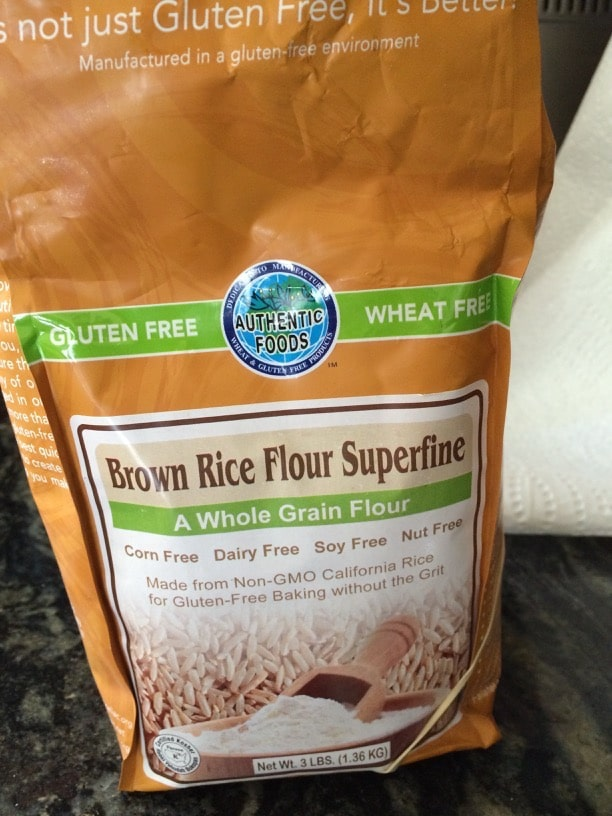 bag of brown rice flour