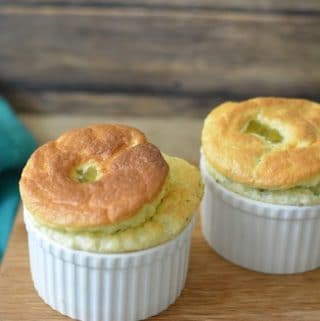 2 ramekins with broccoli and cheese gluten free souffle