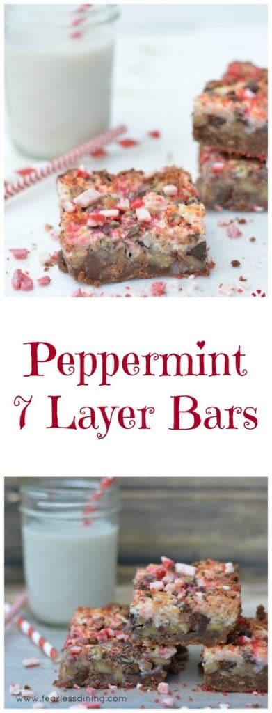 Peppermint 7 Layer Bars Gluten free https://www.fearlessdining.com