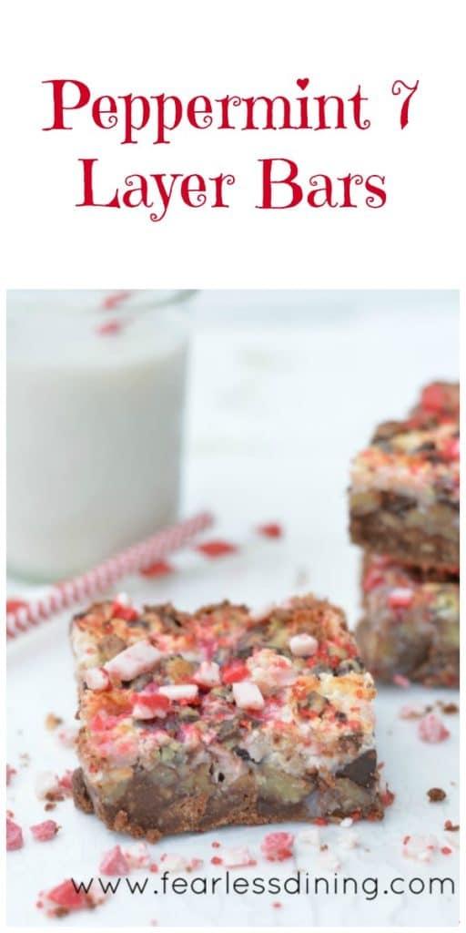 Gluten Free Peppermint 7 Layer Bars https://www.fearlessdining.com