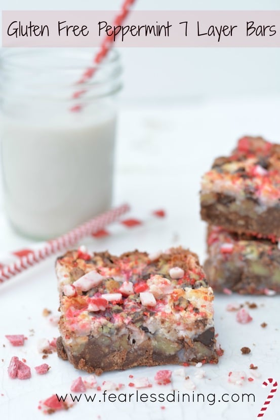Gluten Free Peppermint 7 Layer Bars on a plate