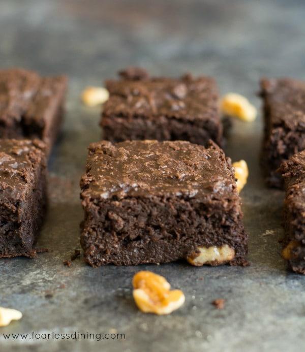 Rows of delicata squash super chocolate coconut flour brownies