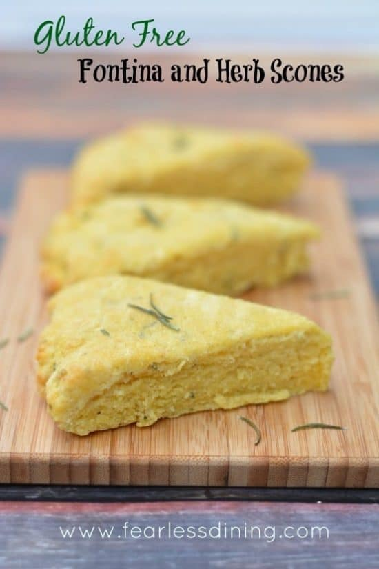 Gluten Free Fontina and Herb Scones on a cutting board