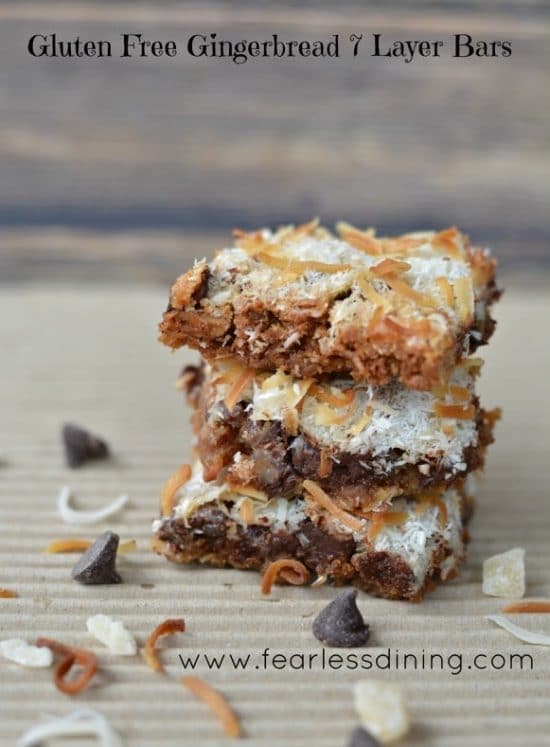 Gluten Free Gingerbread 7 Layer Bars https://www.fearlessdining.com