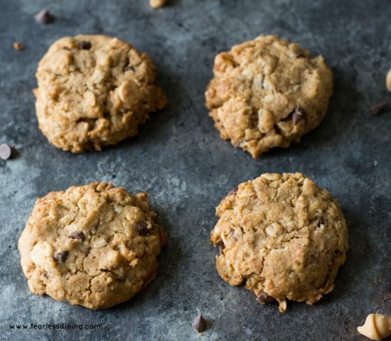 Yummy Gluten Free Peanut Butter Oatmeal Chip Cookies image
