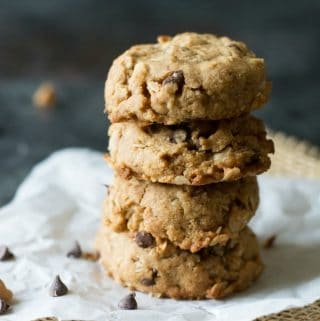 Gluten Free Peanut Butter Oat Chocolate Chip Cookies