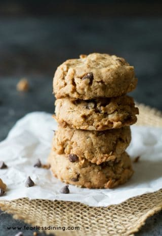 Gluten Free Peanut Butter Oat Chocolate Chip Cookies
