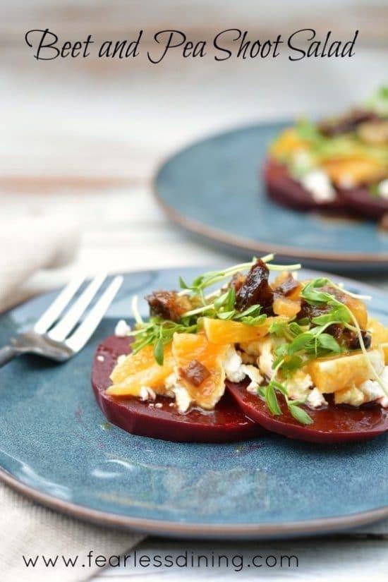 Beet and Pea Shoot Salad on grey plates