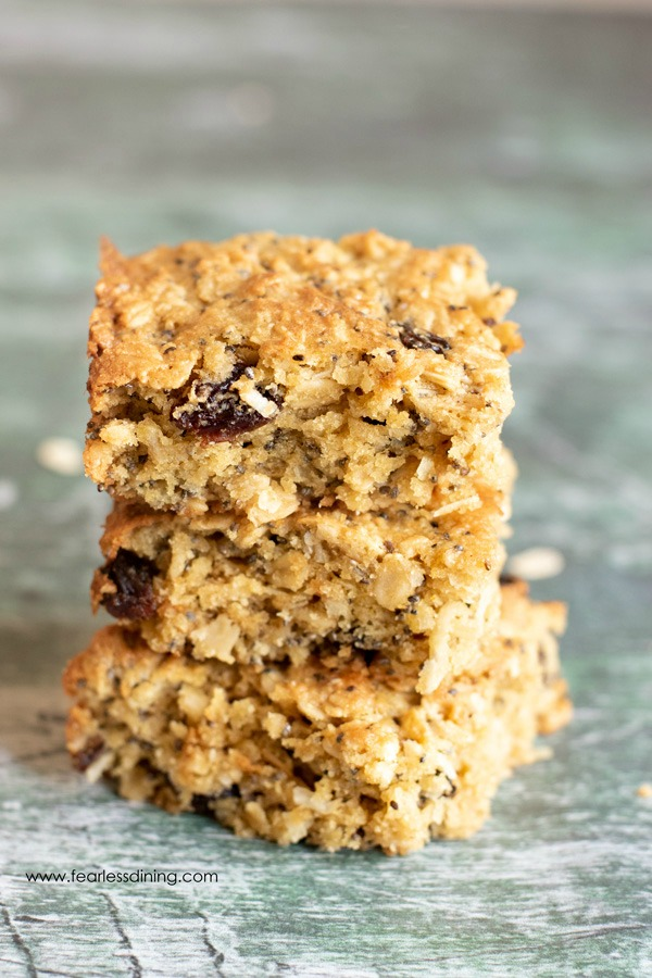 a stack of three oatmeal breakfast bars