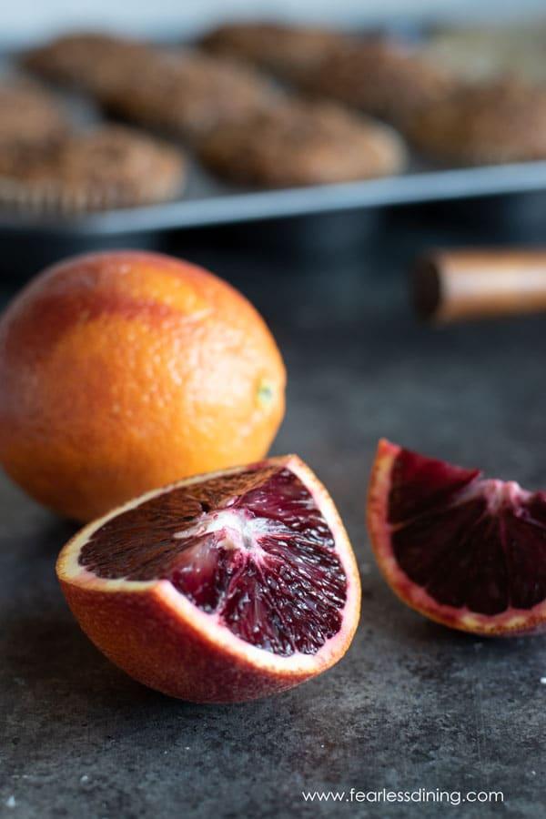 cut open blood oranges