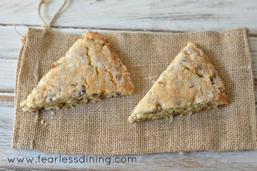 Gluten Free Coconut, Date and Pecan Scones on a burlap bag