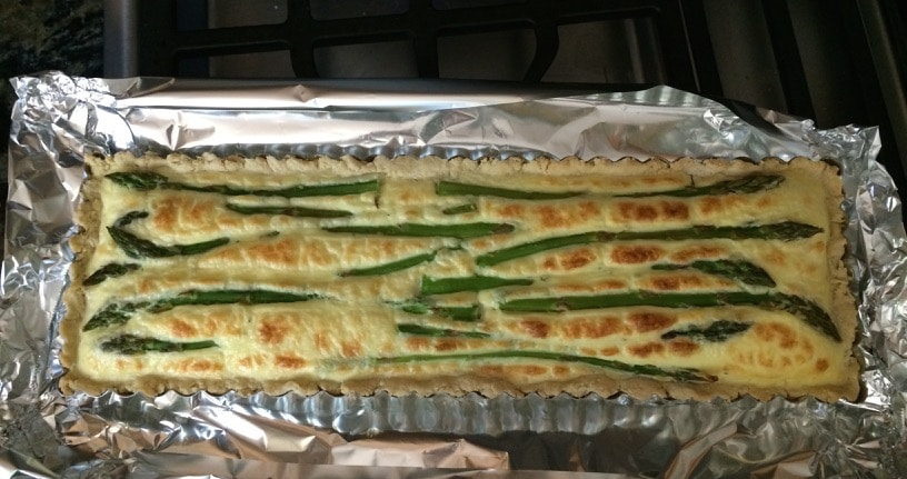 The asparagus tart coming out of the oven.