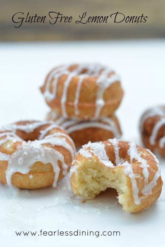 lemon gluten free donuts stacked on a table