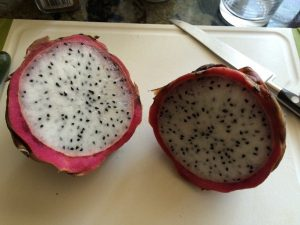 sliced open dragon fruit