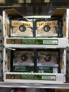Gluten-Free Costco packages of Columbus roasted turkey deli meats