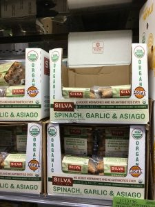 Gluten-Free Costco packages of spinach, garlic, and asiago sausage by Silva
