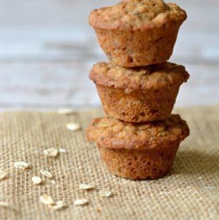 3 gluten free banana muffins stacked