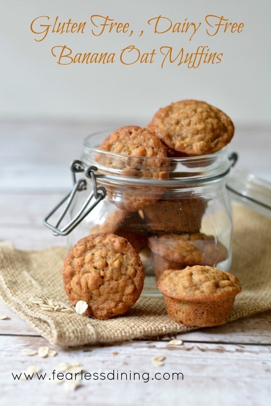 titled image - A glass mason jar filled with Gluten Free, Dairy Free Banana Oat Muffins