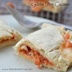 gluten free calzone, sliced open