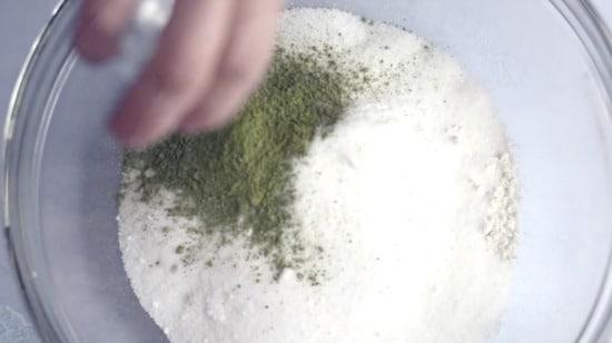 adding matcha green tea powder to the dry ingredients