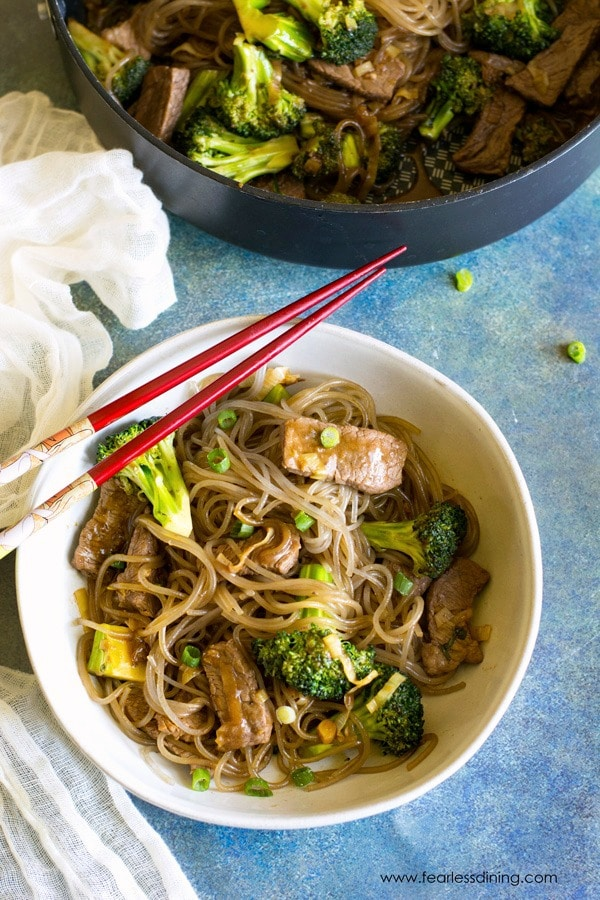 top view of a bowl of beef and broccoli stir fry with noodles.
