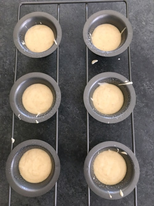 Gluten free popover batter in a popover pan