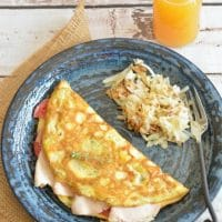 Turkey and Heirloom Tomato Omelette
