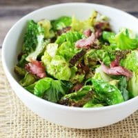 Sauteed Brussels Sprout Leaves with Pastrami